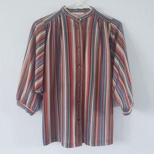 Vintage 70s striped mock neck bat wing blouse 10
